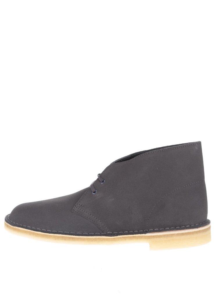 Tmavosivé pánske semišové členkové topánky Clarks Desert Boot