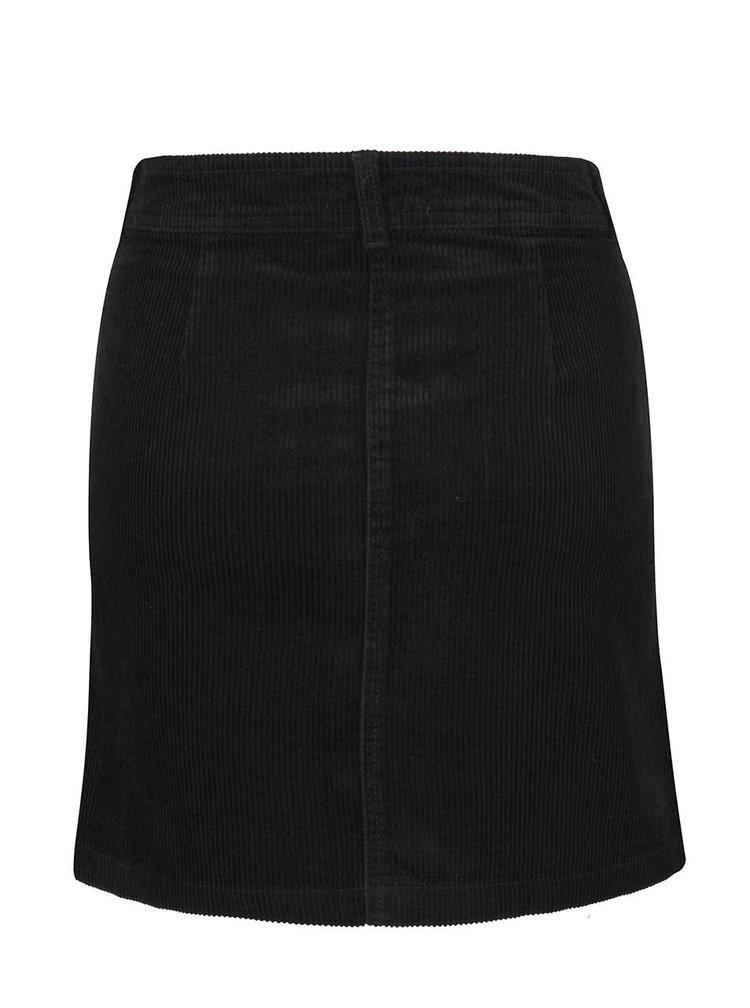 Čierna menčestrová sukňa s gombíkmi Miss Selfridge