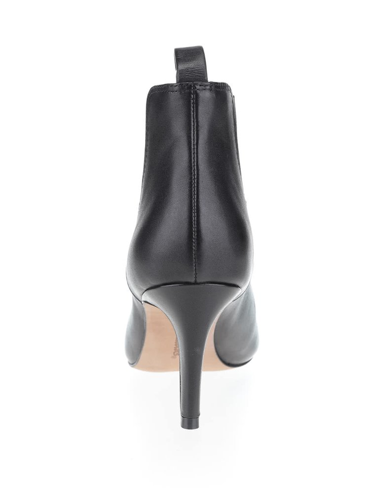 Čierne dámske kožené členkové topánky Clarks Carlita
