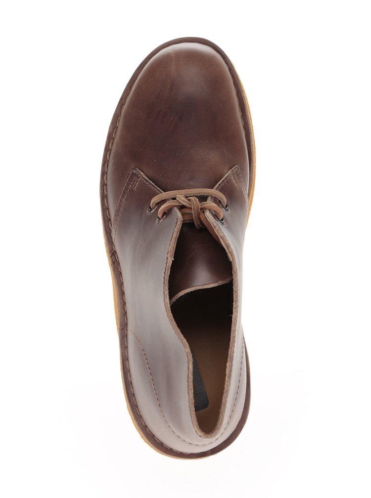 Hnedé pánske kožené členkové topánky Clarks Desert Boot