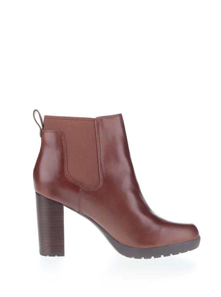 Tmavohnedé dámske kožené topánky Clarks Elipsa Dee
