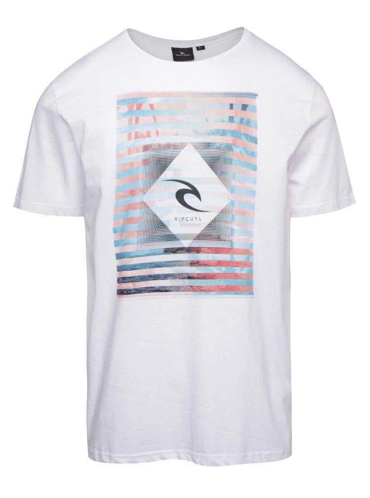 Biele pánske tričko s potlačou Rip Curl Blur Lines SS Tee