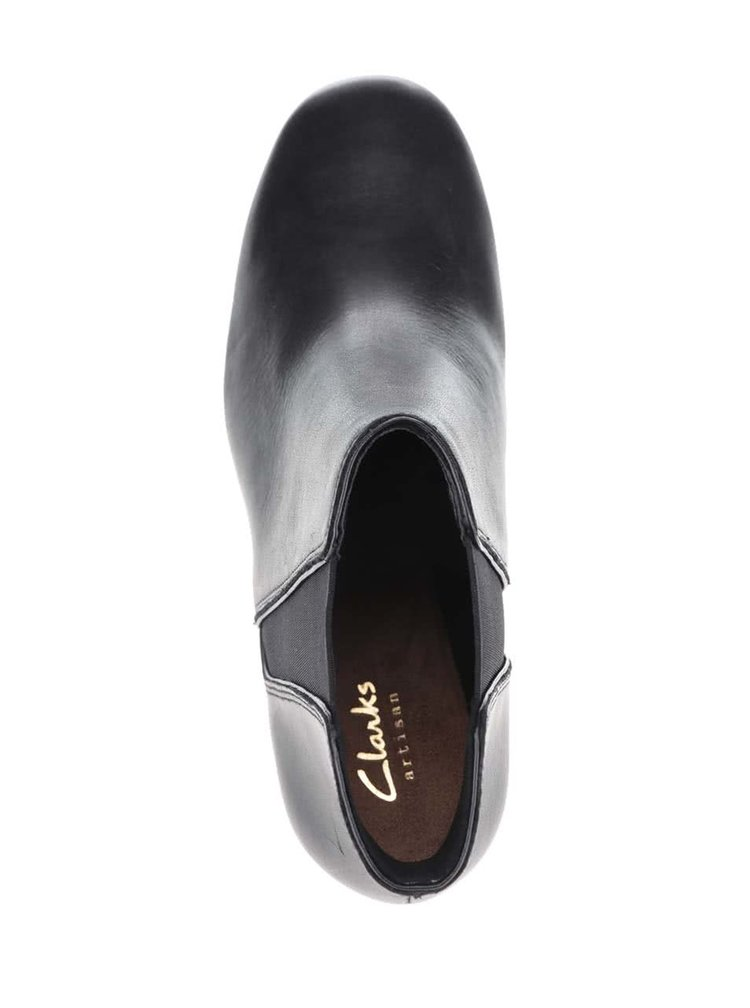 Čierne dámske kožené členkové topánky Clarks Cala Jeans