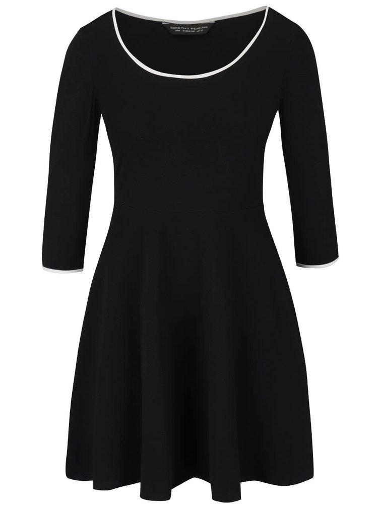 Černé šaty s 3/4 rukávy Dorothy Perkins