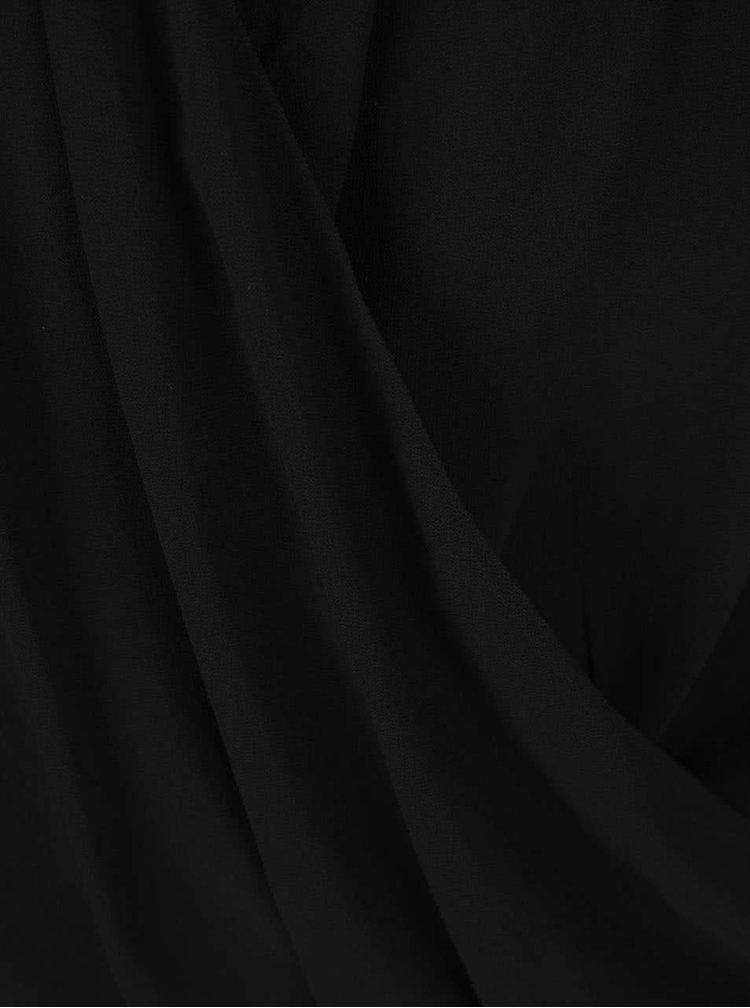 Černá halenka bez rukávů s překládaným výstřihem ONLY Tinsy