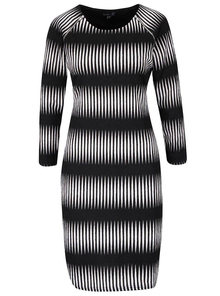 Černé vzorované šaty se zipy a dlouhými rukávy Smashed Lemon