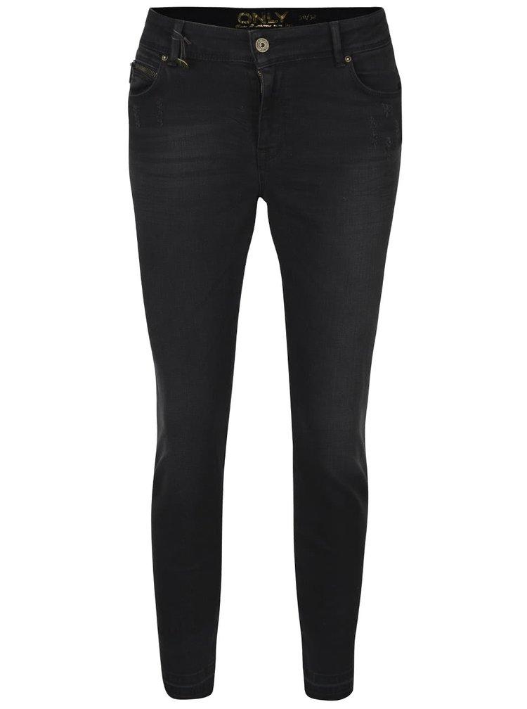 Černé vyšisované skinny džíny ONLY Carmen