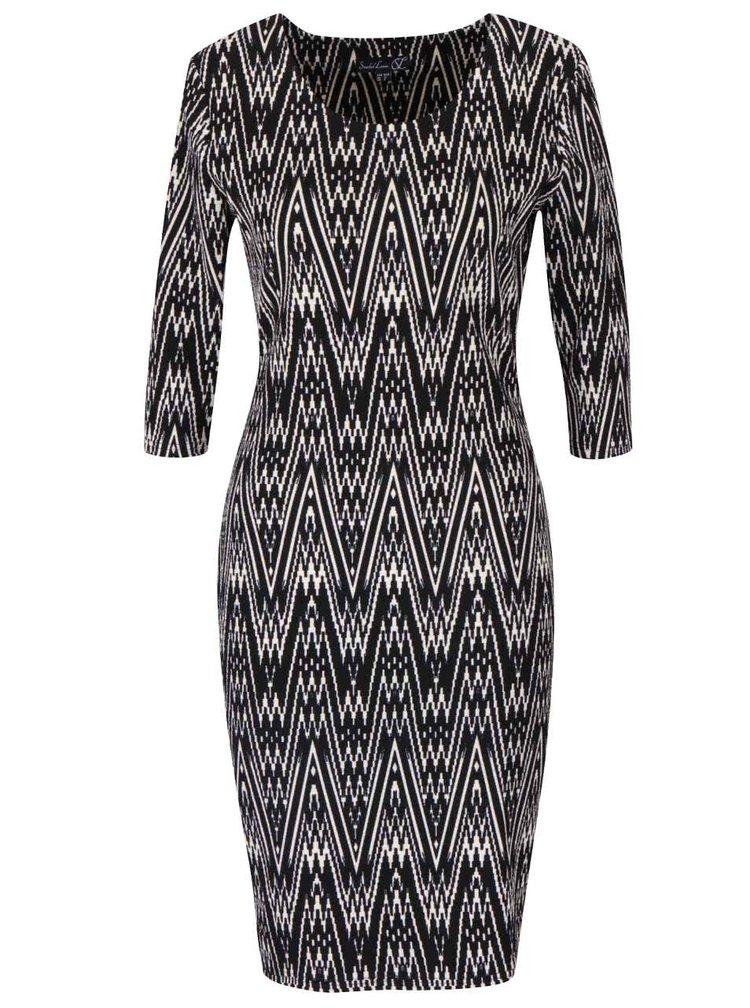 Čierne vzorované šaty s guľatým výstrihom a 3/4 rukávmi Smashed Lemon