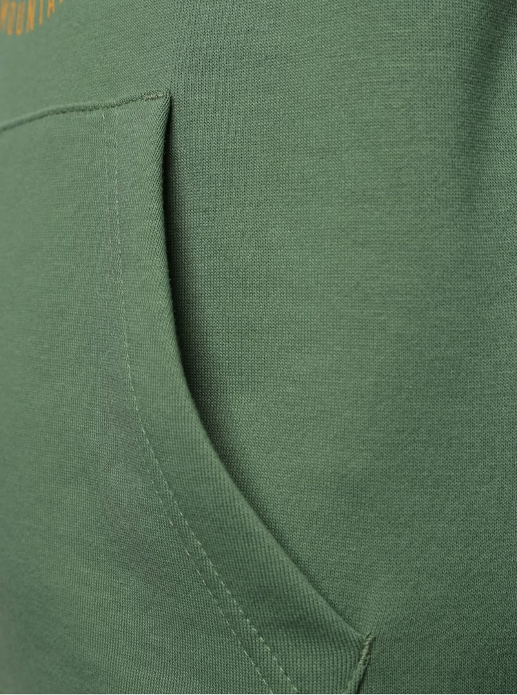 Zelená klučičí mikina s kapucí a potiskem Quiksilver