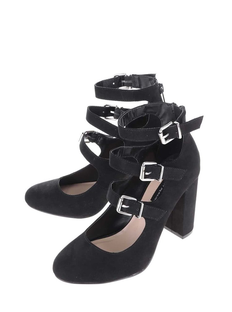 Černé boty na podpatku s pásky Dorothy Perkins