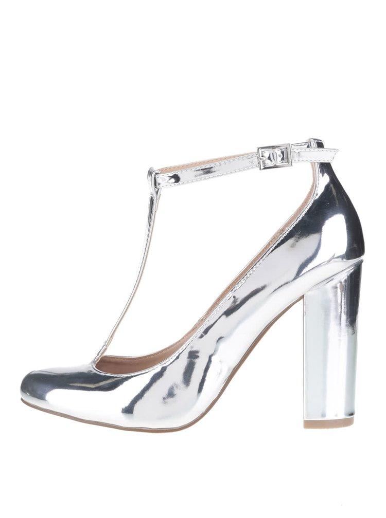 Lodičky na podpatku ve stříbrné barvě Dorothy Perkins