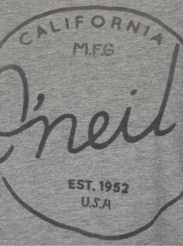 Šedé dámské žíhané tričko s potiskem O'Neill Base Brand