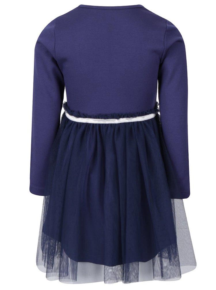 Tmavě modré holčičí šaty s dlouhým rukávem a tylovou sukní North Pole Kids