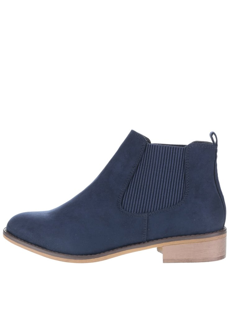 Modré členkové  chelsea topánky v semišovej úprave Dorothy Perkins