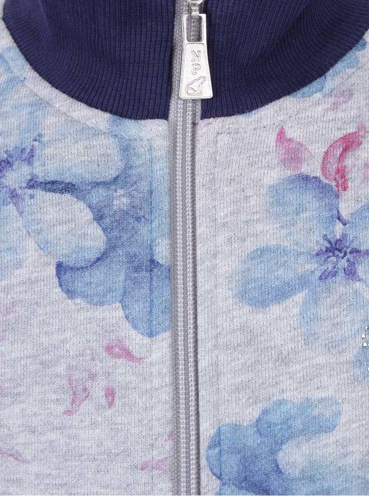 Šedo-modrá květovaná holčičí tepláková souprava North Pole Kids