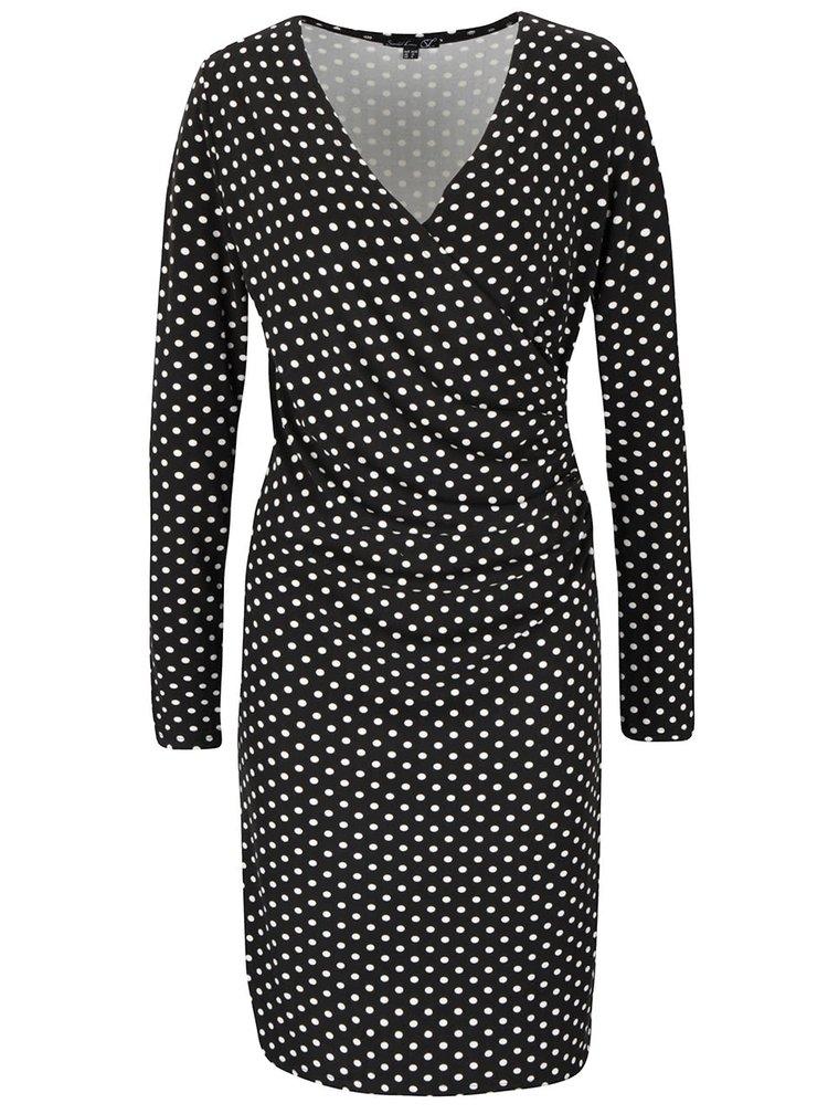 Čierne bodkované šaty s prekladaným dekoltom Smashed Lemon