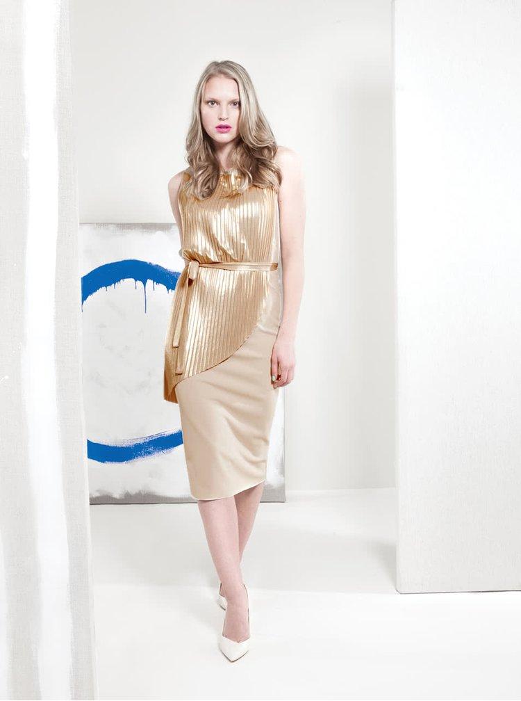 Plisované šaty ve zlato-béžové barvě Alchymi Quartz