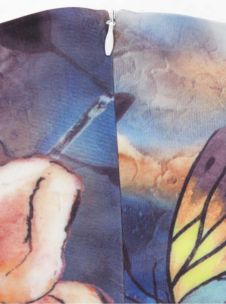 Rochie albastră cu imprimeu floaral Smashed Lemon fără mâneci