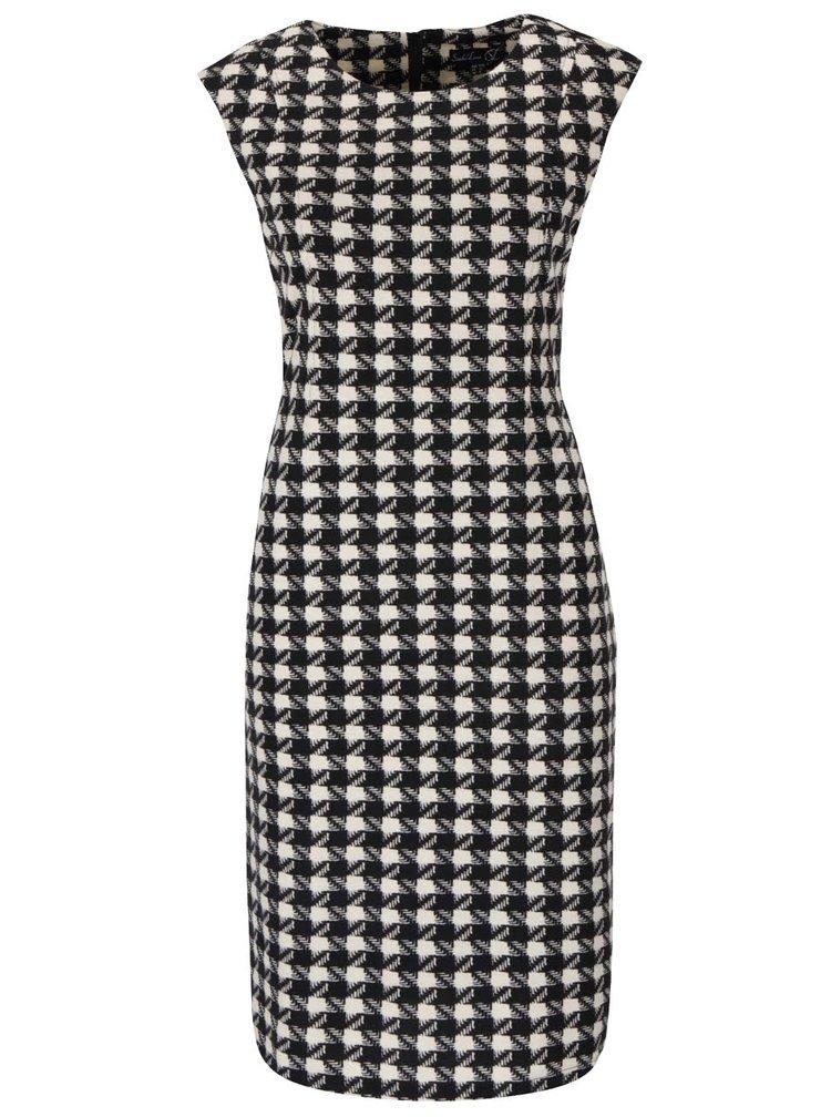 Krémovo-čierne kockované šaty bez rukávov Smashed Lemon