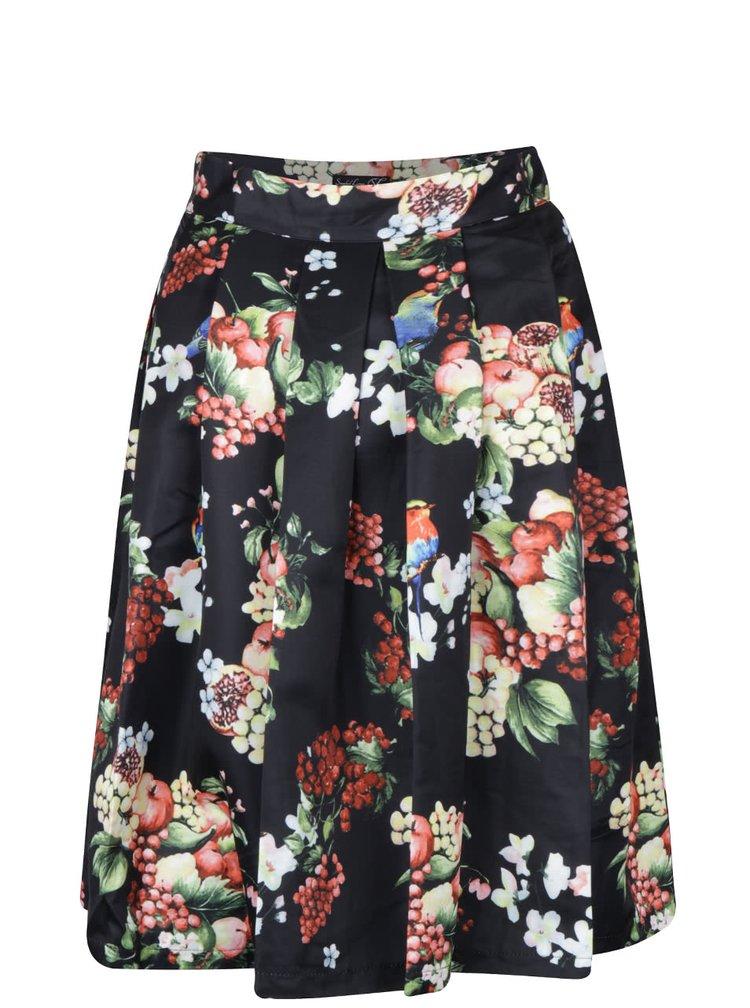 Černá skládaná sukně s potiskem květin a ptáčků Smashed Lemon