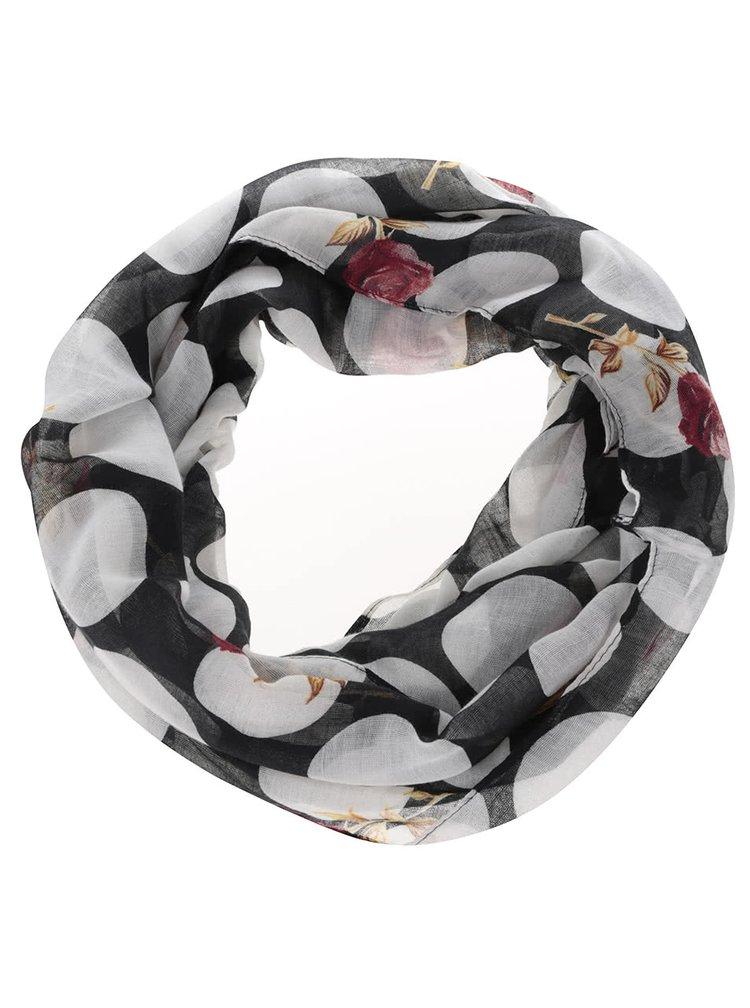 Černý dutý šátek s puntíky Madonna Rose