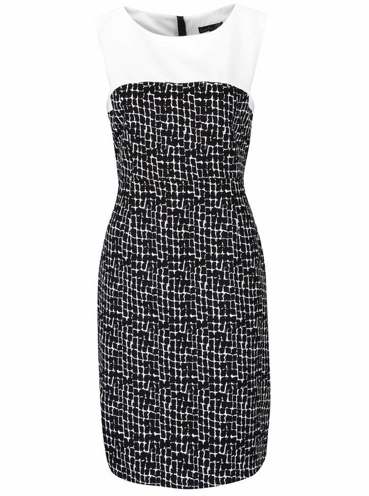Krémovo-černé vzorované šaty bez rukávů Smashed Lemon