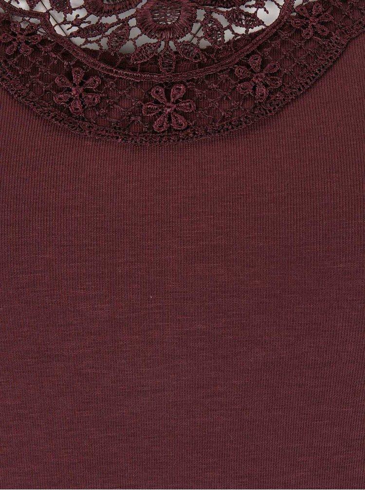 Hnedé tričko s čipkovým výstrihom VERO MODA Inge