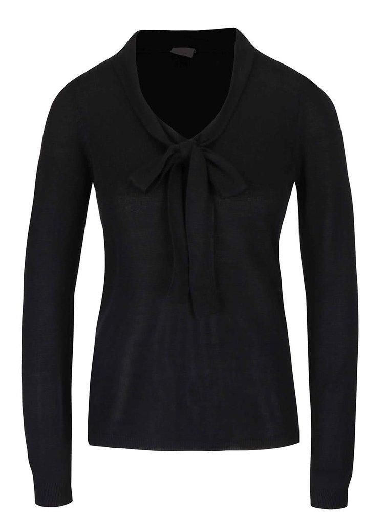 Čierny ľahký sveter s mašľou VERO MODA Rubi