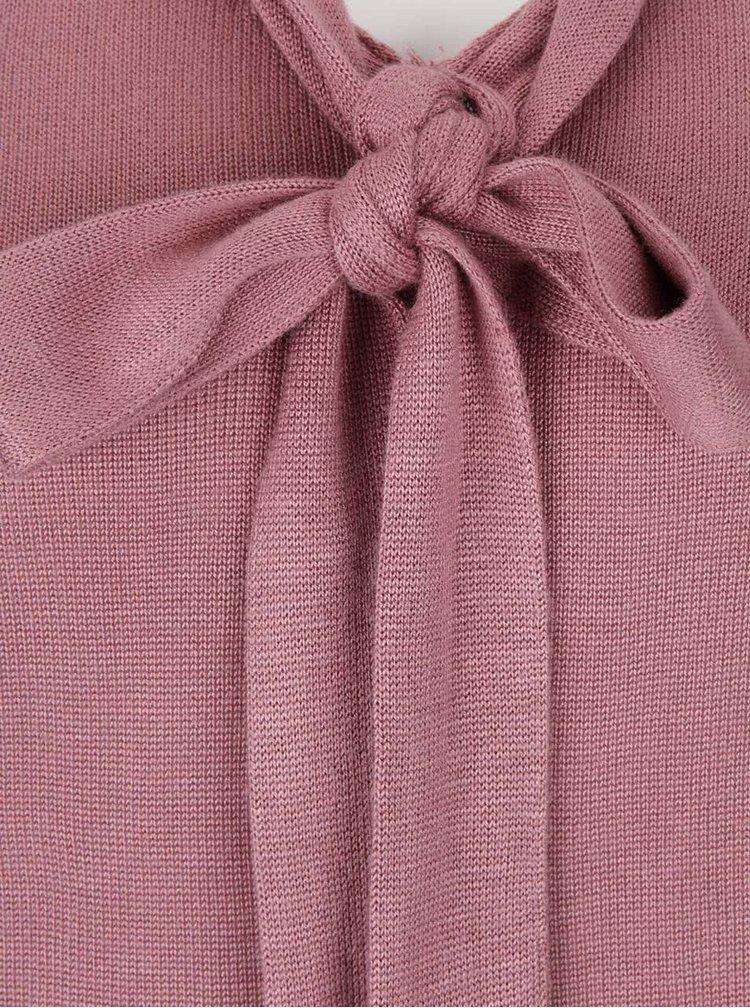 Růžový lehký svetr s mašlí VERO MODA Rubi