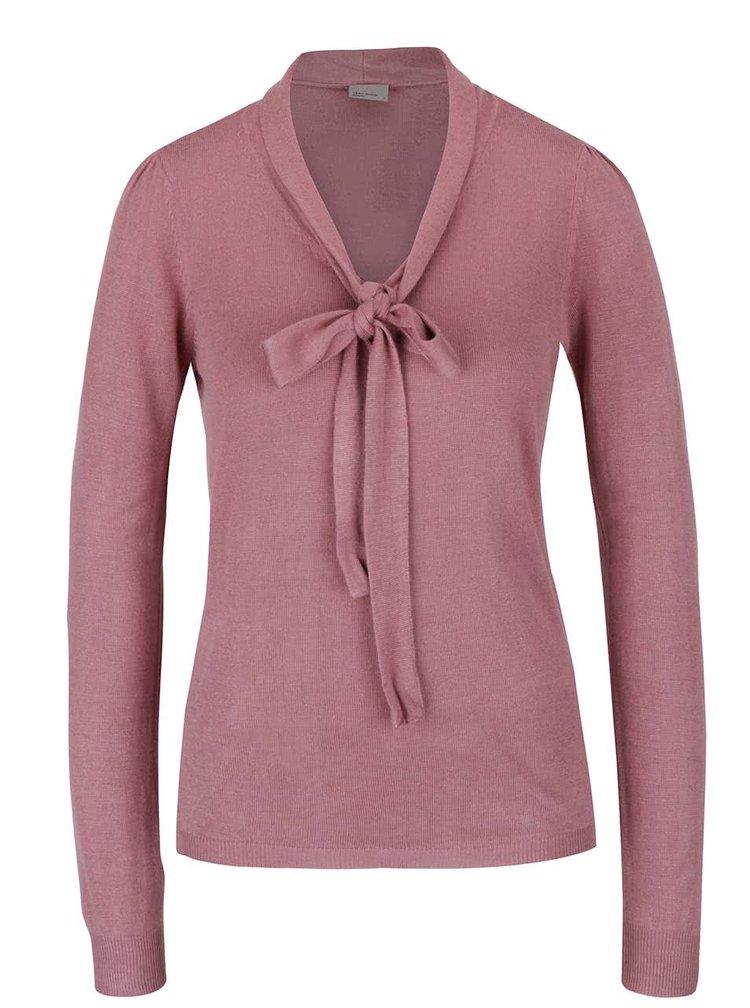 Ružový ľahký sveter s mašľou VERO MODA Rubi