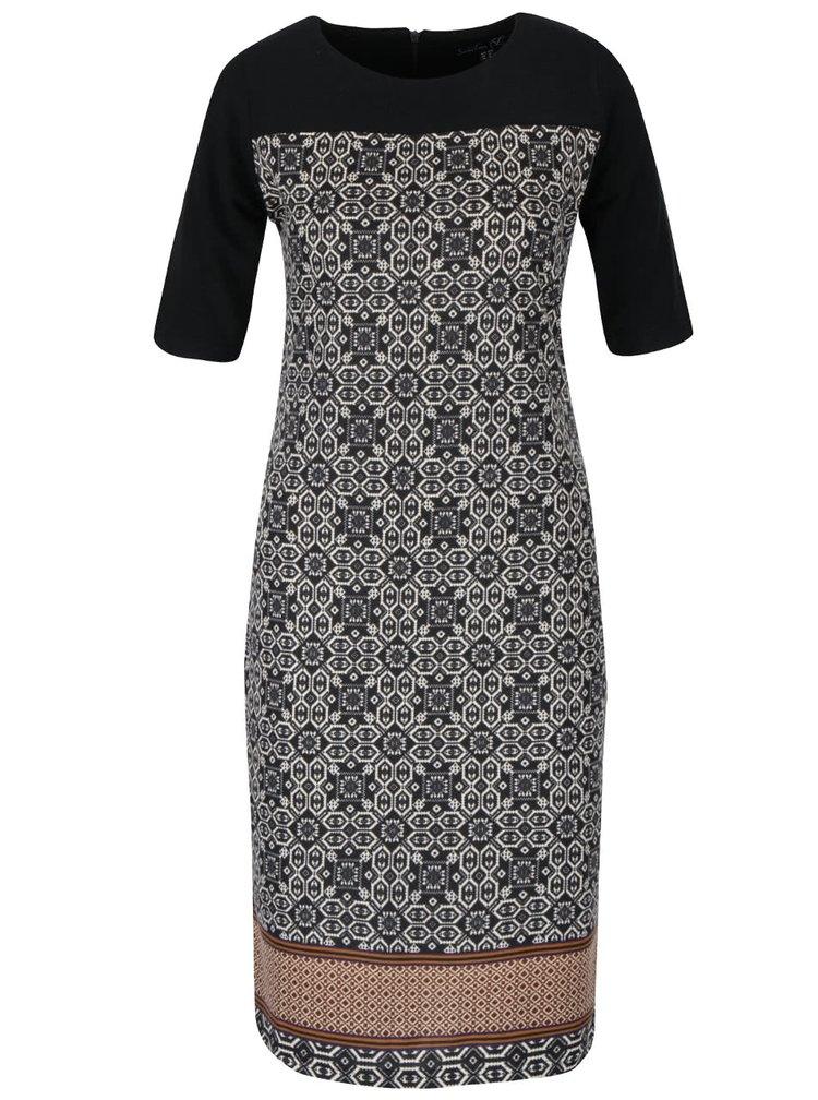 Krémovo-čierne vzorované šaty s krátkymi rukávmi Smashed Lemon