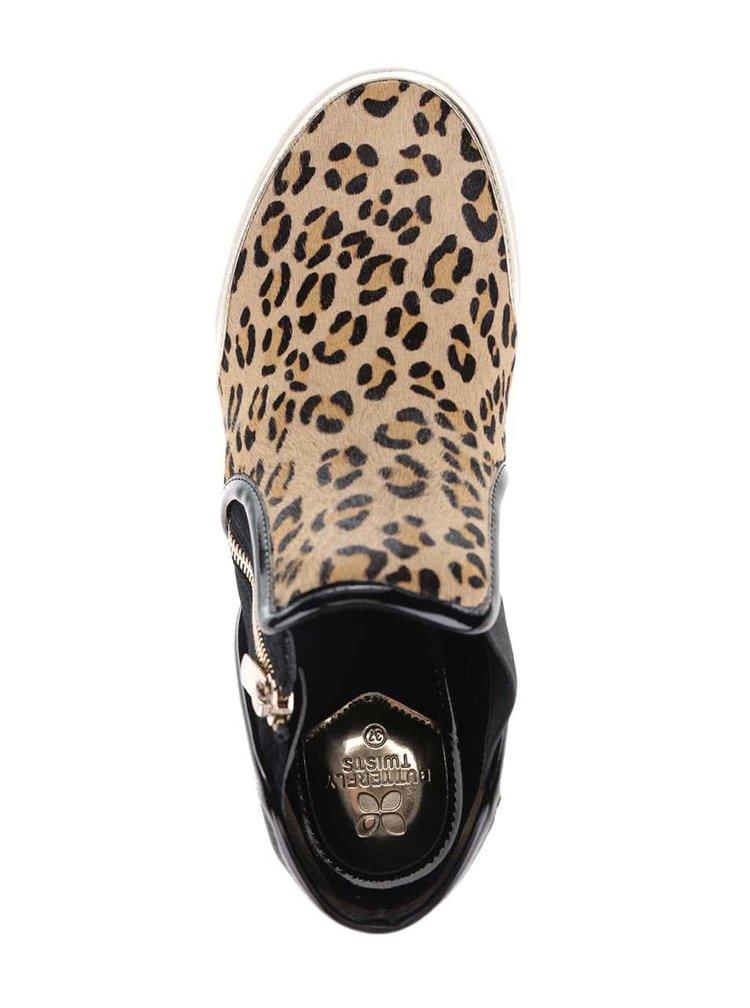 Černo-hnědé kotníkové boty s leopardím vzorem Butterfly Twists Alexis