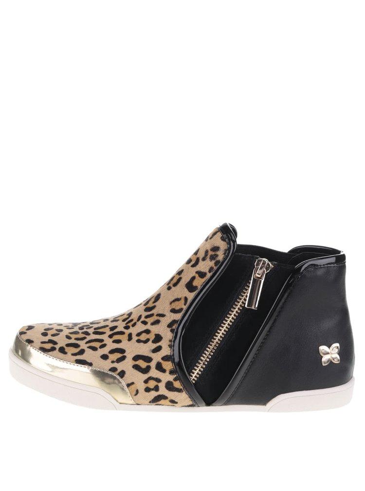 Čierno-hnedé členkové topánky s leopardím vzorom Butterfly Twists Alexis