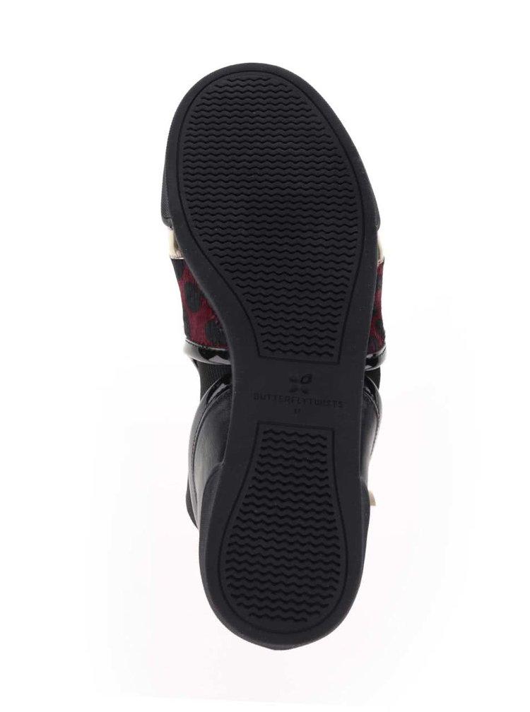 Černo-červené kotníkové boty s leopardím vzorem Butterfly Twists Alexis