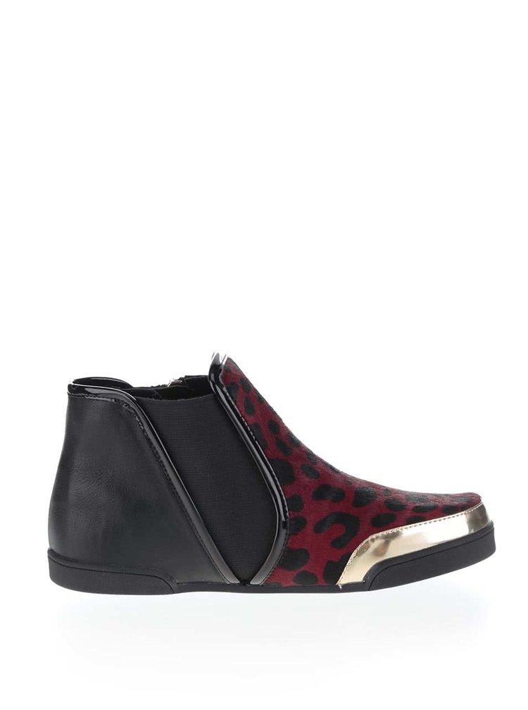 Čierno-červené členkové topánky s leopardím vzorom Butterfly Twists Alexis