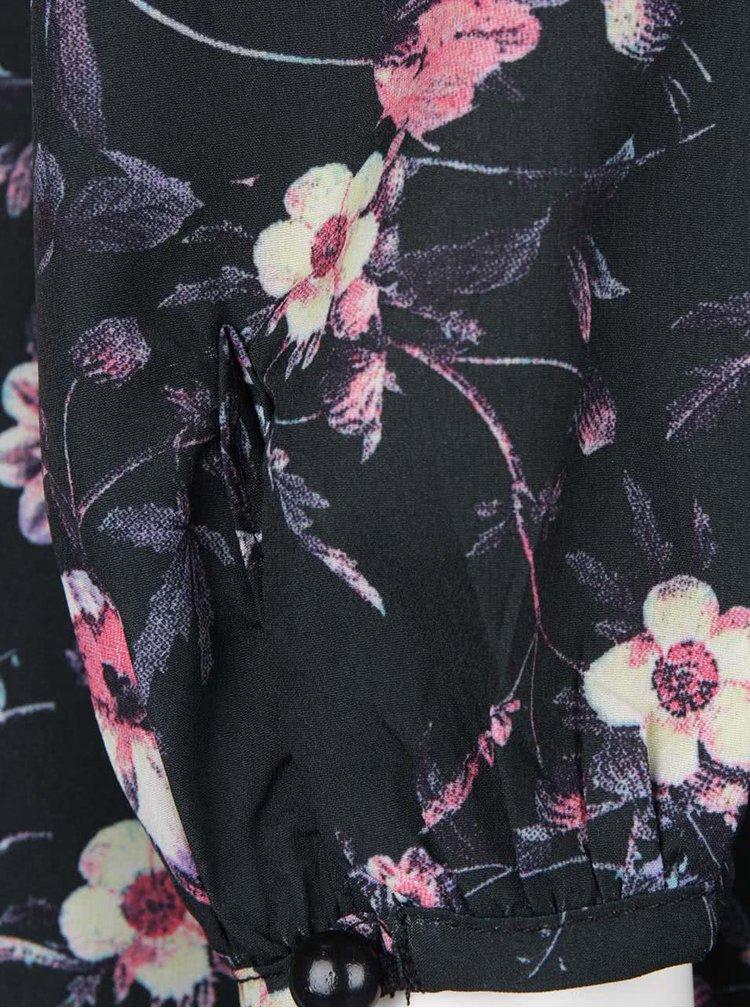 Rochie neagră Smashed Lemon cu imprimeu floral