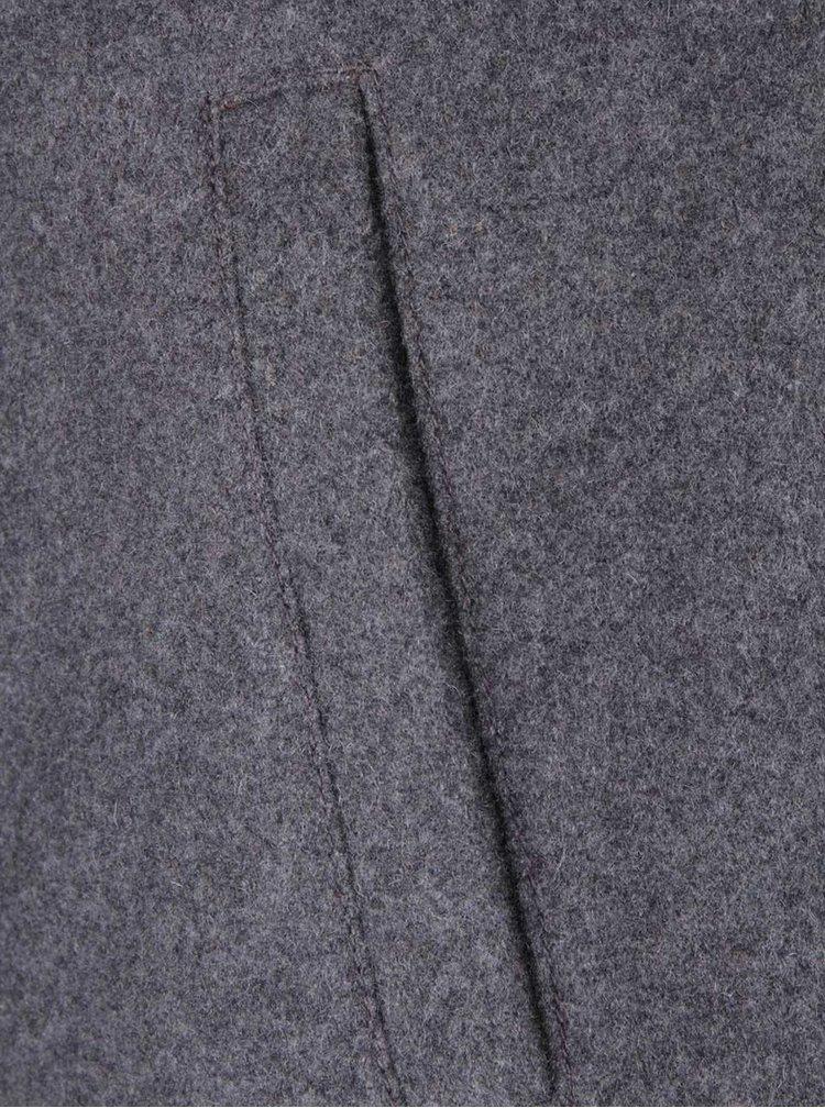 Tmavosivý dámsky kabát s vysokým golierom s.Oliver