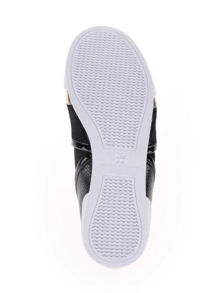 Černé kotníkové boty s detaily ve zlaté barvě Butterfly Twists Alexis