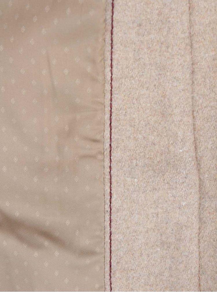 Béžový dámský kabát s vysokým límcem s.Oliver