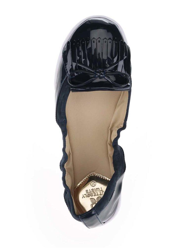 Tmavomodré lesklé baleríny do kabelky Butterfly Twists Robyn