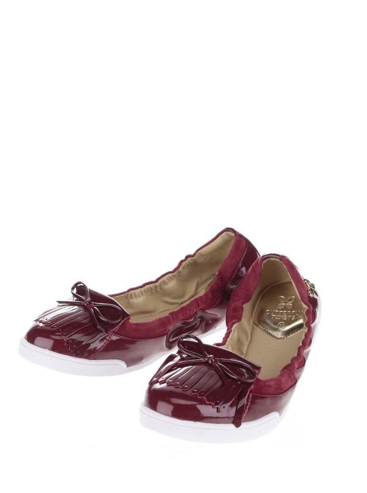 Tmavě červené lesklé baleríny do kabelky Butterfly Twists Robyn