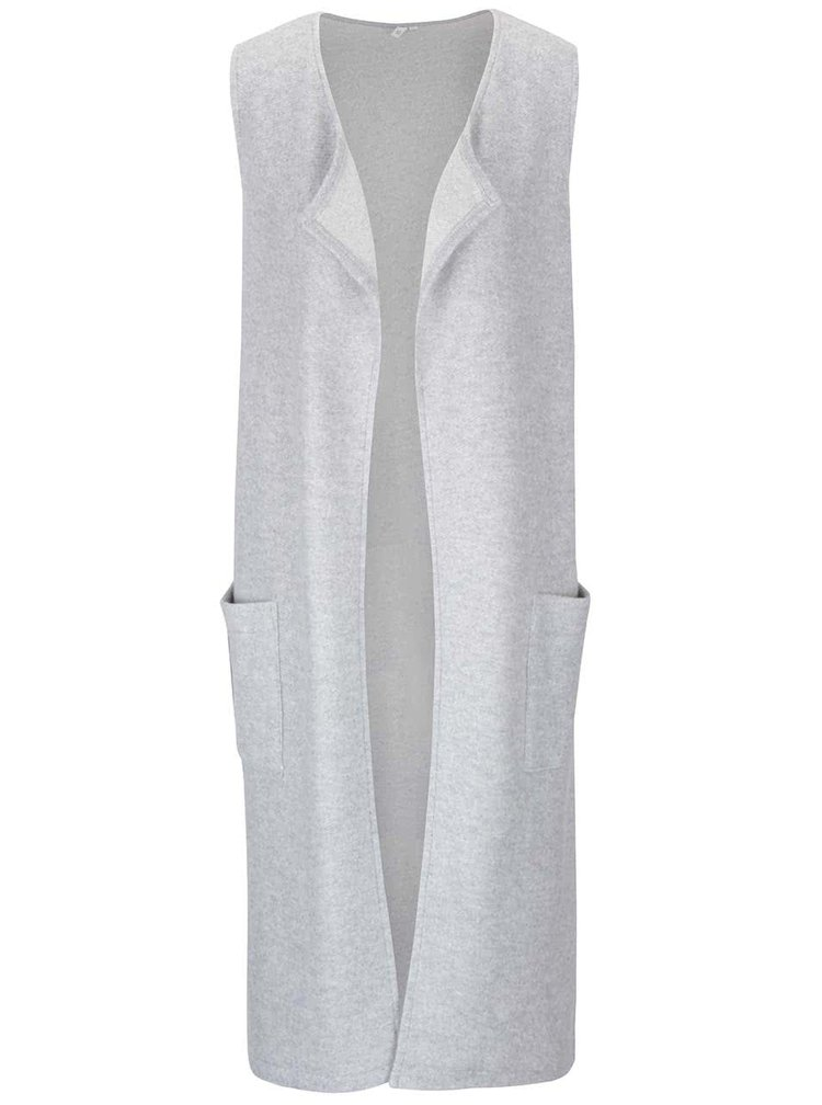 Svetlosivá dlhšia dámska vesta s vreckami s.Oliver