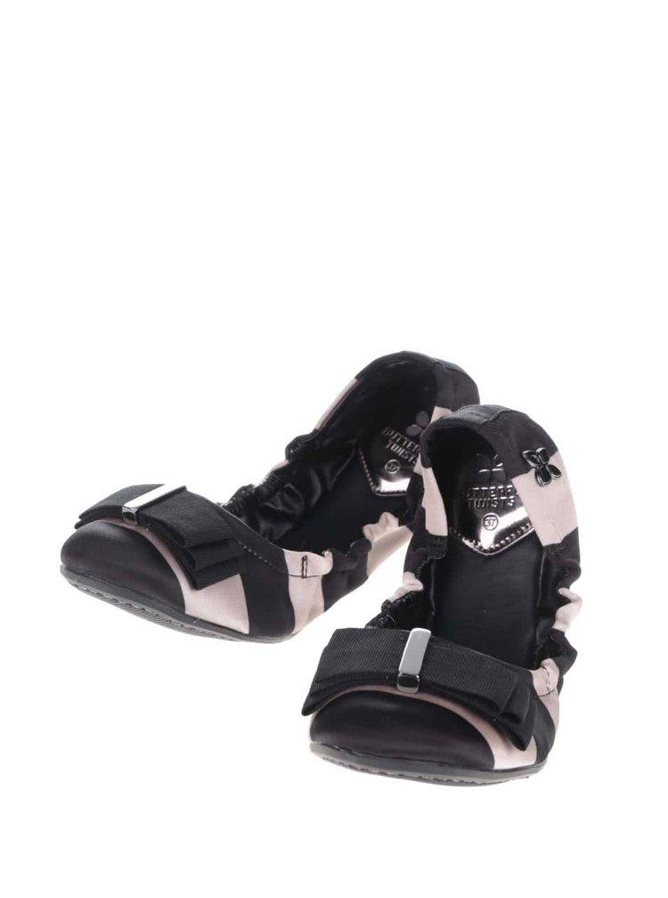 Béžovo-černé pruhované baleríny do kabelky Butterfly Twists Sloan