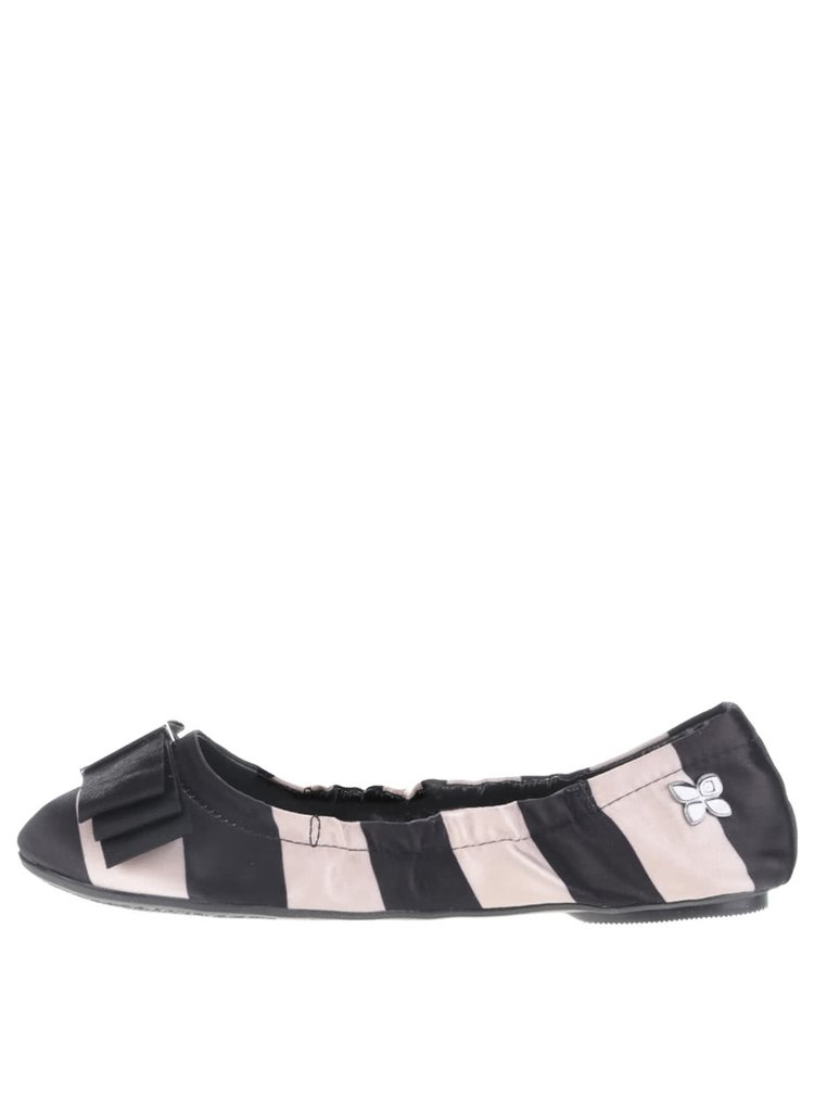 Béžovo-čierne pruhované baleríny do kabelky Butterfly Twists Sloan