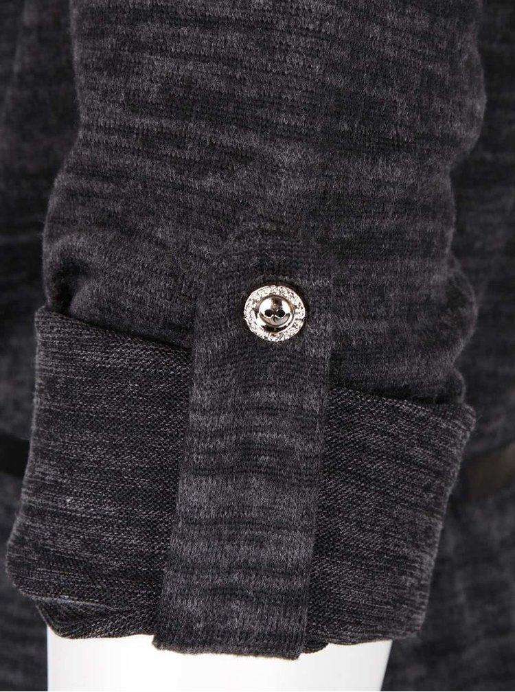 Tmavě šedá žíhaná tunika s páskem Madonna Heike