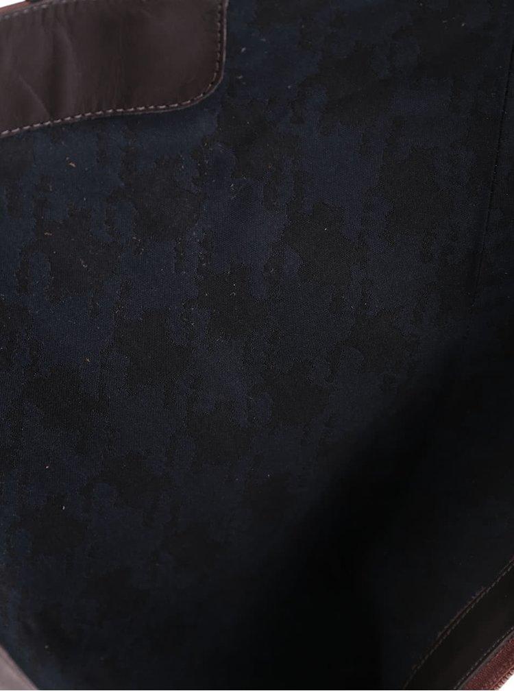 Hnědé kožené kozačky na podpatku Geox Lia