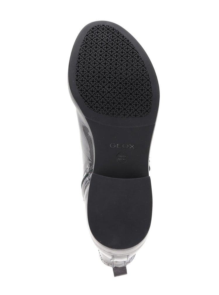 Tmavosivé kožené členkové chelsea topánky Geox Donna Brogue
