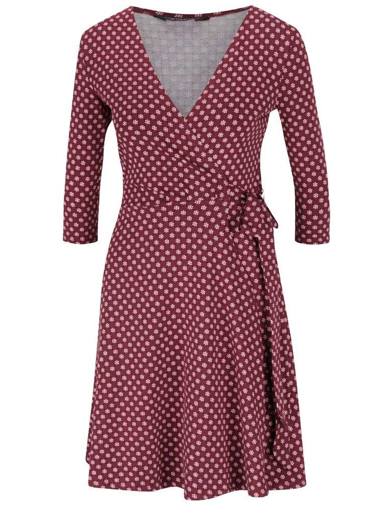 Vínové vzorované zavinovacie šaty Dorothy Perkins