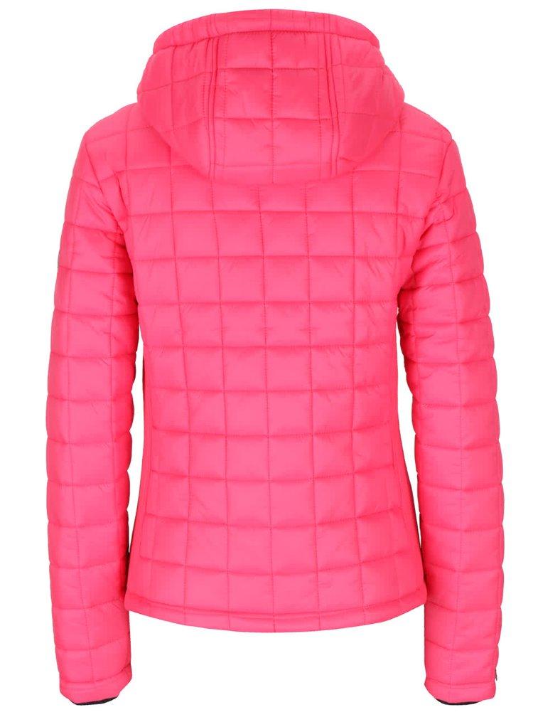 Ružová dámska prešívaná bunda s kapucňou Superdry