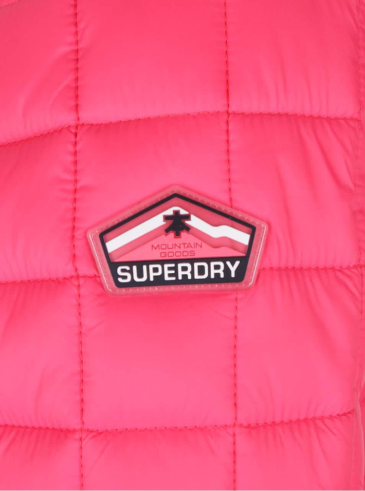 Růžová dámská prošívaná bunda s kapucí Superdry